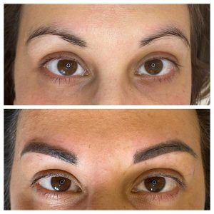Before and After Photo of Eyebrow Microblading Tattoo