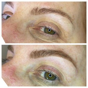 Sample Before and After Photo of Eyebrow Feathering