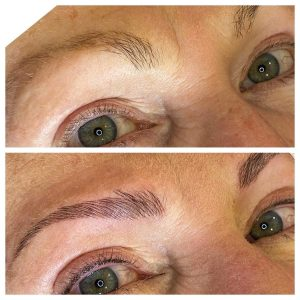 Before and After Picture of Eyebrow Microblading
