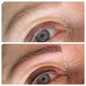 Before and After Photo of Eyebrow Tattoo and Tattoo Eyeliner
