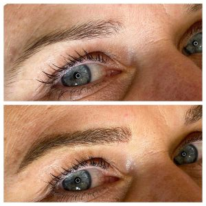 Photograph of Before and After Permanent Eyebrow Tattoo