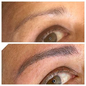 Before and After Photo of Cosmetic Eyebrow Microblading