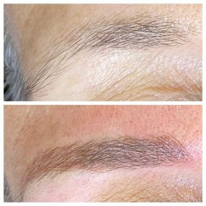 Before And After Photo of Eyebrow Microblading