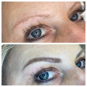 Before and After Photo of Eyebrow Tattoo