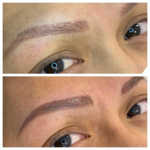 Before and After Image of Eyebrow Tattoo