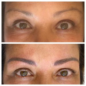 Photo of before and after microblading eyebrows