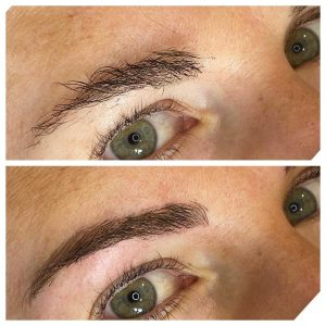 Feather Tattoo Eyebrows Before and After Photo