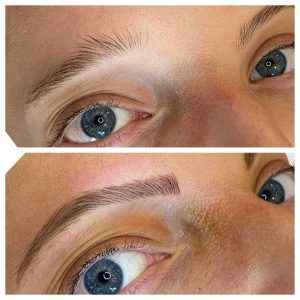 Before and After Image of Eyebrow Microblading