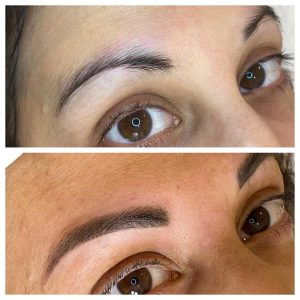Before and After Eyebrow Shaping and Eyebrow Tattoo