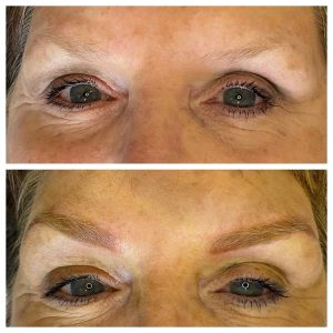 Image of before and after microblading in eyebrows