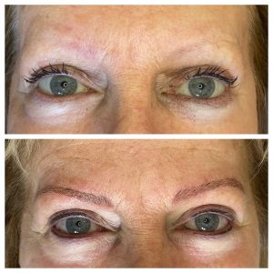 Before and After Image of Eyebrow Tattoo and Eyeliner