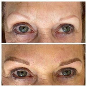 Permanent Makeup Eyebrow and Eyeliner Before and After Photo