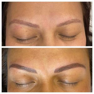 Before and After Photo of Eyebrow Cosmetic Tattoo