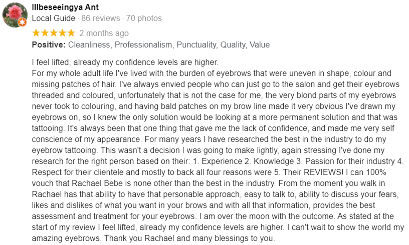 Cosmetic Google Review